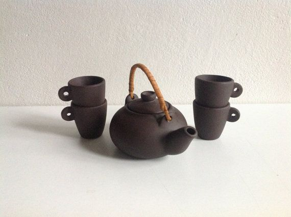 Home Decor Brown Asian Tea Set Ceramic Tea set  Tea от SashaStore, $30.00