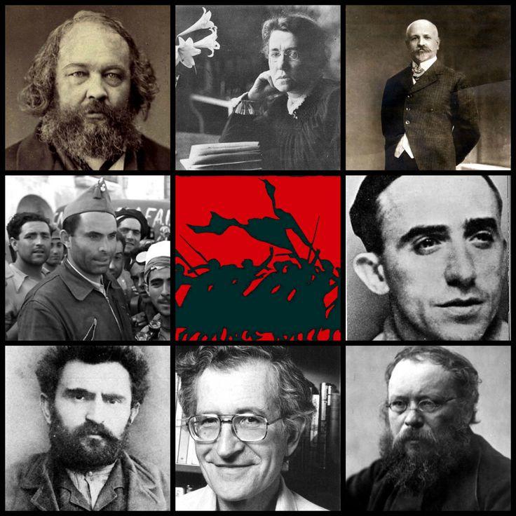 Galería libertaria.  De izquierda a derecha Mijail Bakunin, Emma Goldman, Francisco Ferrer i Guardia, Buenaventura Durruti, Francisco Ascaso, Enrrico Malatesta, Noam Chomsky y Pierre Joseph Proudhon.