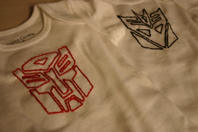 DIY Transformers embroidered onesies...so awesome. May have to make one for my guy best friend. :)