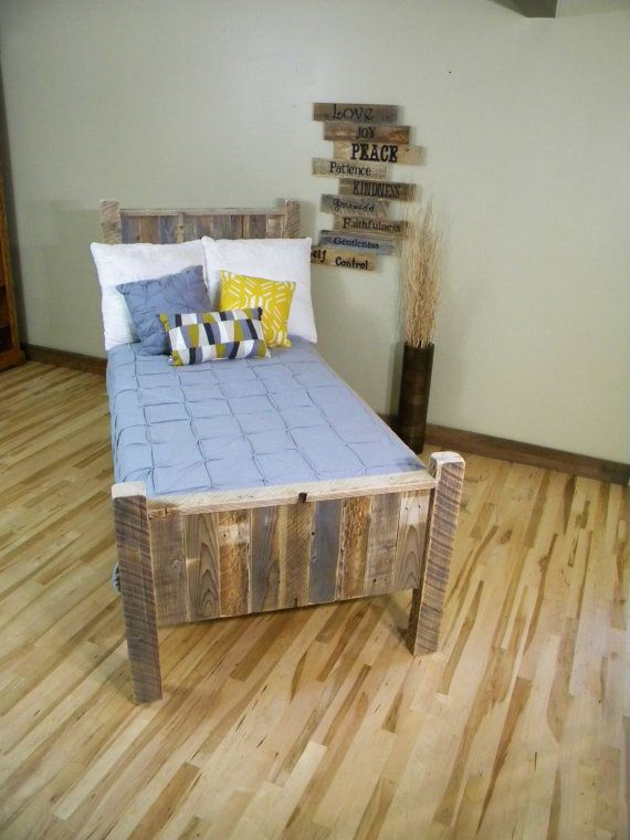 Queen Headboard, Cabin Beds, Twin Bed, Reclaimed Wood Headboard, Barn Wood, Bed Frame, Rustic Beam Bed, Pallet Furniture, Distressed Wood on Etsy, $650.00