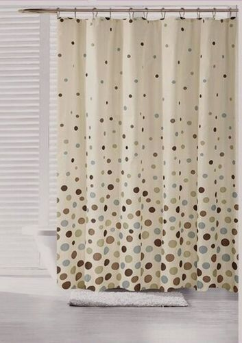 70 in x 72 in Space Canvas Fabric Shower Curtain Polka Dot Teal Blue Brown Olive…