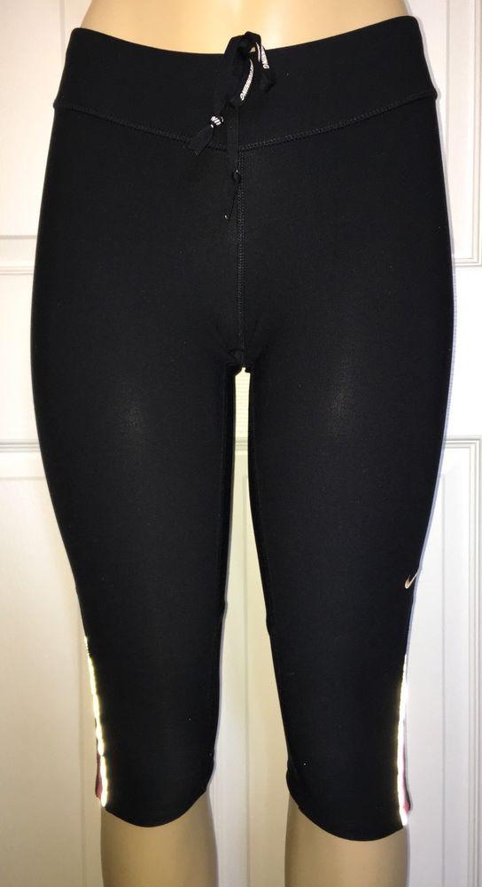 d117d89caea9a Women s Nike Black Dri-fit Running Capri Pants Reflective W  Zip Pocket Size  S