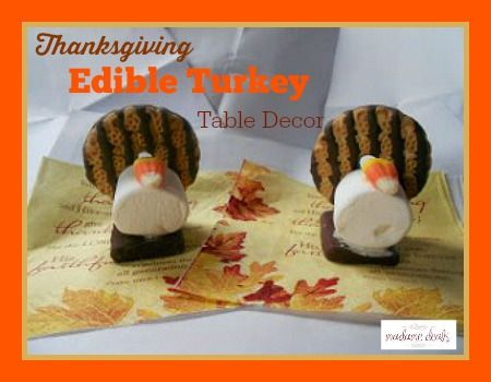 Add a fun touch to your Thanksgiving dinner table like this cute edible Turkey decor that kids will surely love.