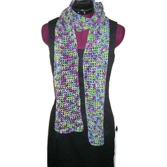 Wool Crochet Scarf in Hand Dyed Superwash Yarn - Rainbow Colors Winter Accessory