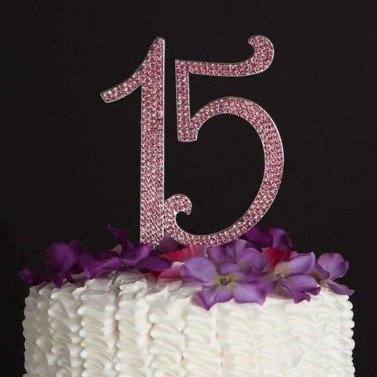 Pink Quinceanera 15 Number Cake Topper Rhinestone 15th Birthday Decoration | eBay