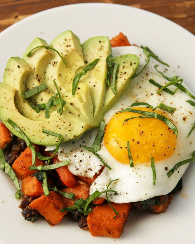 Breakfast hash with sweet potatoes, black beans, and peppers: