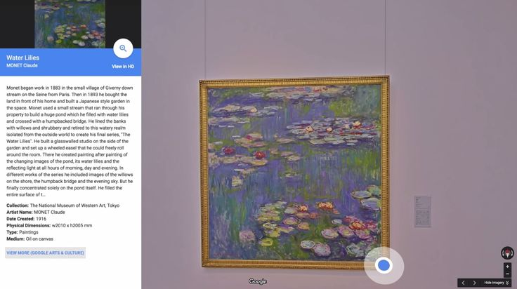 Virtual Experience - 360 views of museums, intense close ups of art with descriptions