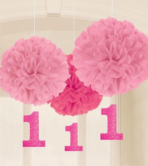 2 rosa, 1 pinker Pom Pom für den ersten Geburtstag Ihres Mädchens mit glitzernden '1'-Anhängern. Durchmesser: ca. 40 cm.