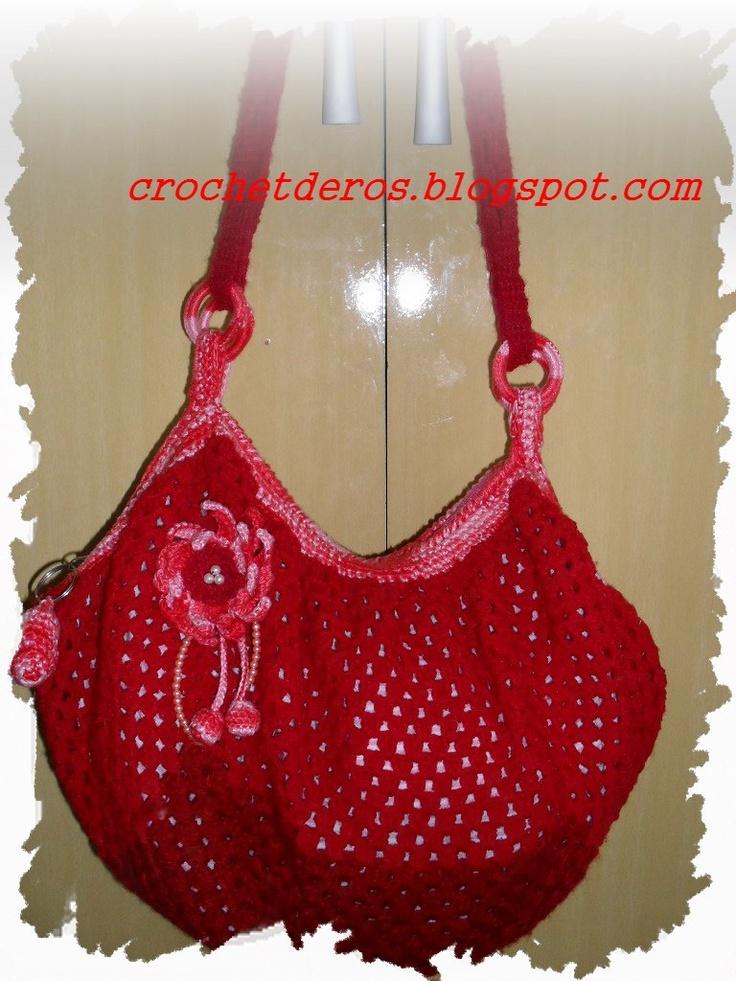 Granny square purse with diagram
