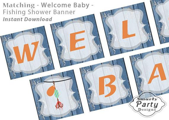 Matching Fishing Baby Shower Welcome Baby Banner Printable