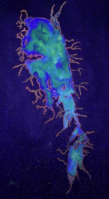 Eutrophy -  Acrylic Ink. My work, representing the algae blooms from satellite on Lake Winnipeg, done in acrylic ink. www.gaylehalliwell.com