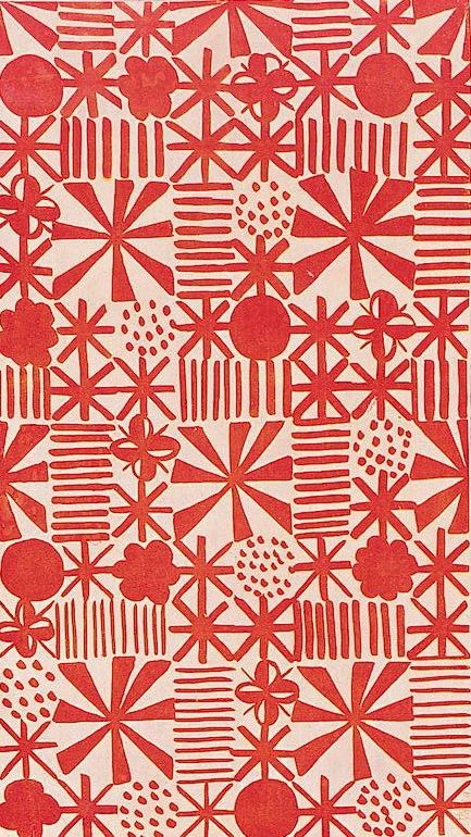 Jacqueline Groag; Textile Design, 1930, printmaking, pattern, lino, repeat, red, abstract, christmas, wrap