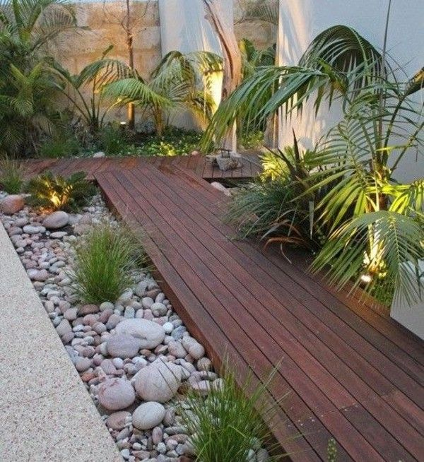 Patio Zen Garden equip wood flooring pebbles green plants