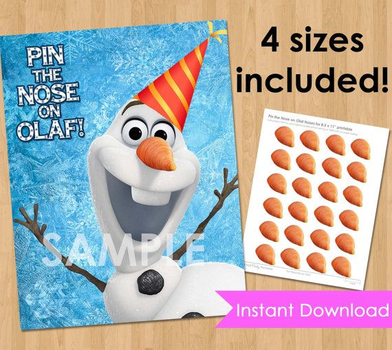 Disney Frozen Birthday Party Printable - INSTANT DOWNLOAD Pin the Nose on Olaf Frozen Game- Frozen Birthday Game - Frozen Party Decorations on Etsy, $4.99