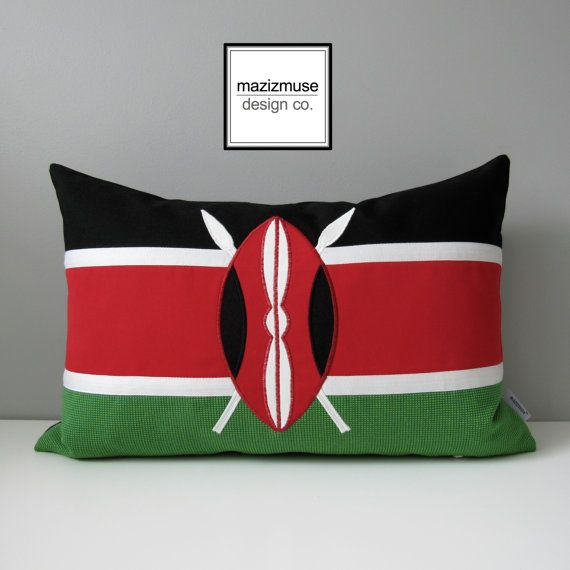 Kenyan Flag Pillow Cover Decorative Kenya Flag Pillow by Mazizmuse