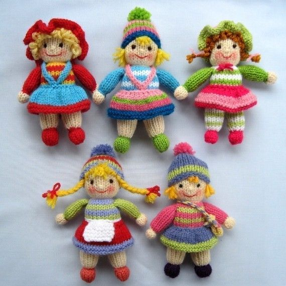 JOLLY TOTS, knitted toy dolls. Designed by dollytime. PDF knitting pattern emailed to you, for $4.95. From etsy. Lots of other neat knitted toys and baby things from this designer.