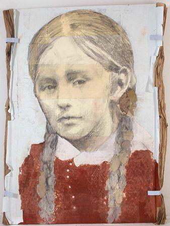 Collette - as a child, Louis Boudreault. 2008.72''x48'' - 183x122cm mix media (graphite, charcoal, pastel, gouache, paper collage/on board)