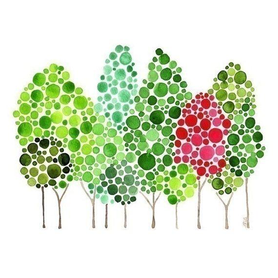 Decoración de la pared acuarela bosque Crimson Flourish Art Print otoño Home