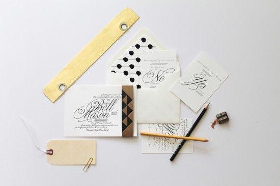 Black + White Letterpress Wedding Invitations by 42 Pressed via Oh So Beautiful Paper (4)