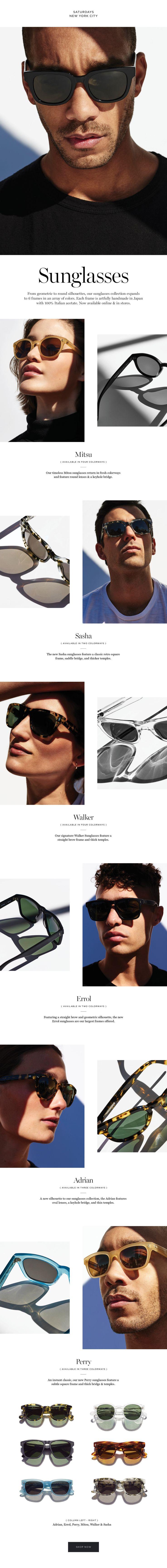 Saturdays NYC New Sunglasses Collection. #saturdaysnyc #sunglasses #japanese