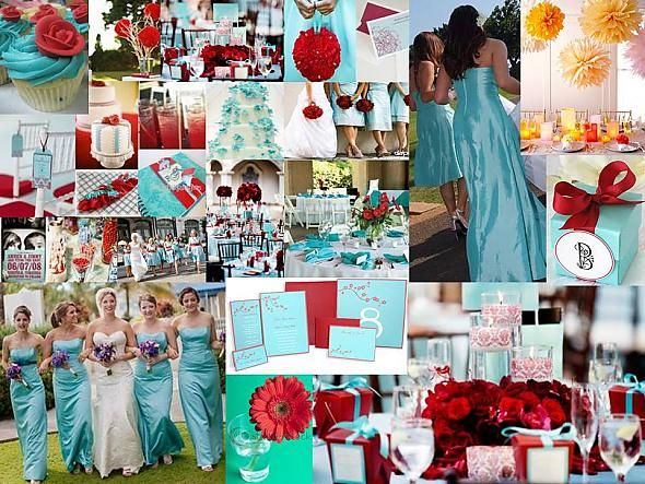 Turquoise And Red Wedding Tiffany Blue Inspiration Board