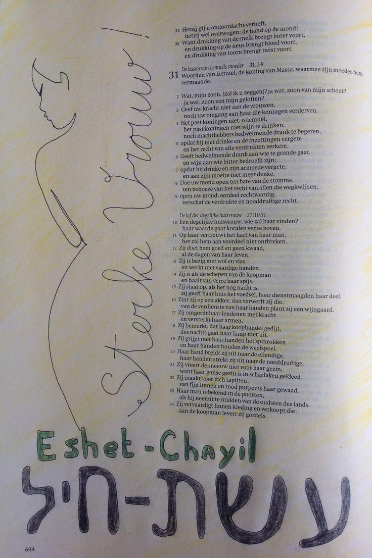 #woordvrouw challenge dag 1 sterke vrouw  prediker 31 C vd berg Gouda tekening van Pinterest
