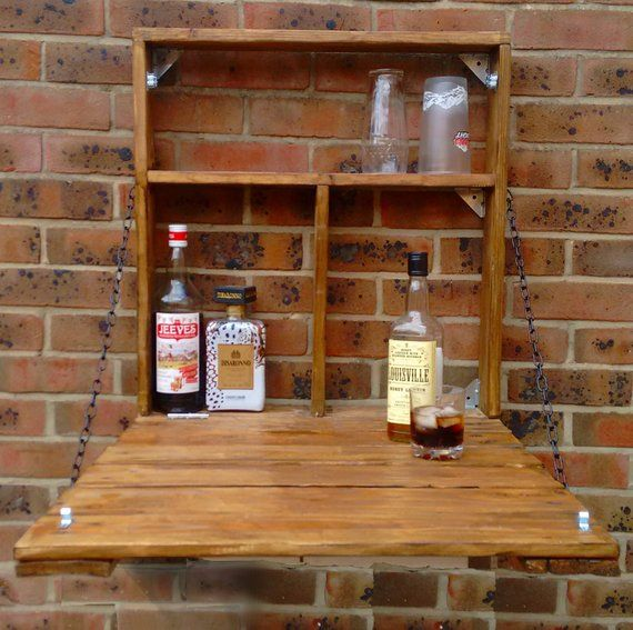 The Drinky Shelf A Snazzy Upcycledfold Down Garden Mini Bar Etsy