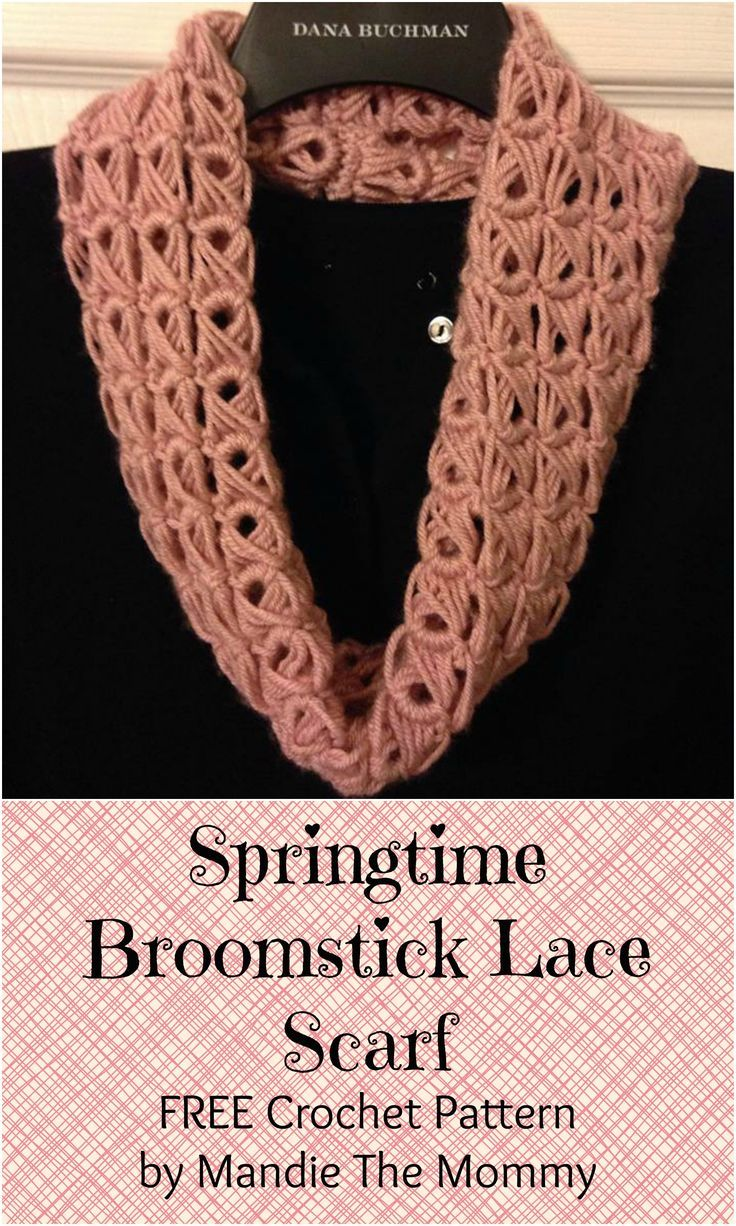 Get the FREE pattern for the Springtime Broomstick Lace Scarf on the Mandie The Mommy Blog!