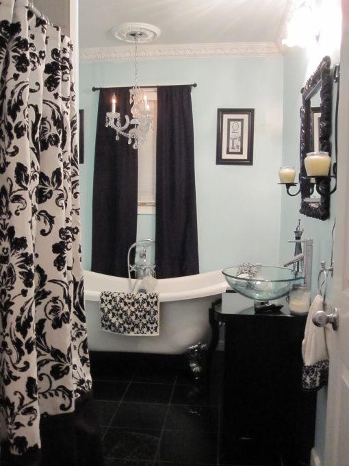 Damask Bathroom with splashes of red instead would be perfect.