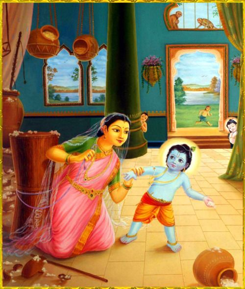 """DAMODARA KRISHNA  Artist: Haridas Thakur Dashttp://www.krishnalilas.com/ """"In attempting to bind her son, Mother Yashoda became tired. She was perspiring, and the garland on her head fell down. Then Lord Krishna appreciated the hard labor of His mother, and being compassionate upon her, He agreed to be bound up by the ropes.""""~Krishna Book To order a copy of """"Krishna Book"""":http://store.krishna.com/Detail.bok?no=5715&bar=_shp_media-books"""