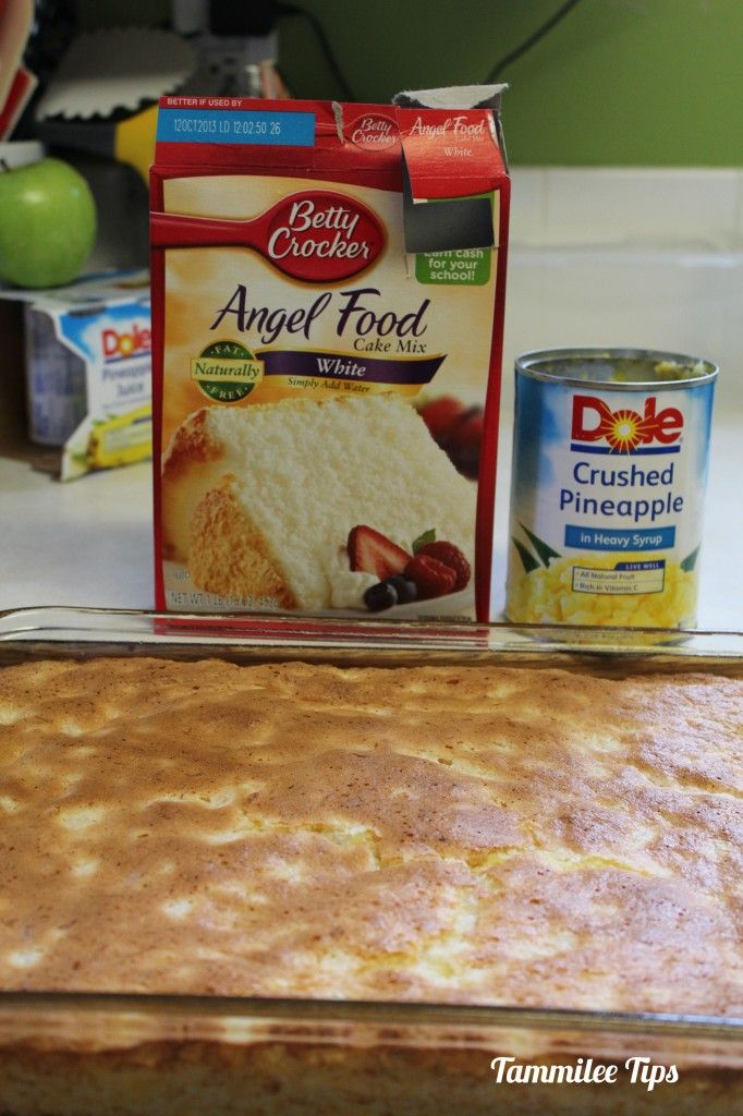 Pineapple Angel Food Cake  Ingredients 1 package Angel Food Cake Mix 1 20 ounce can of crushed pineapple  Directions Combine Angel Food Cake Mix and crushed pineapple in a Mixing Bowl by hand. Make sure and mix thoroughly so everything is combined  Pour into a 13 x 9 Baking Pan  Bake for 30 minutes at 350 degrees