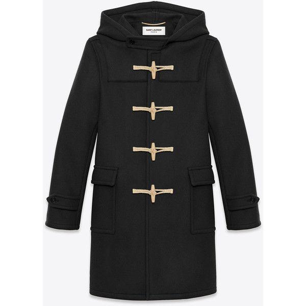 Saint Laurent Classic Duffle Coat (10.075 BRL) ❤ liked on Polyvore featuring men's fashion, men's clothing, men's outerwear, men's coats, men, mens hooded toggle coat, mens toggle duffle coat, mens toggle coat and mens coats