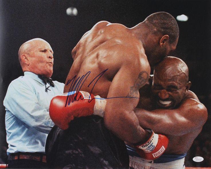 Mike Tyson Signed 16x20 Photo Vs Evander Holyfield Jsa