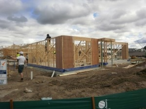 Week 2 – Wall Frames  This is a very exciting stage of the build, watching the Wall Frame go up. Now you can start to see the size and shape of each of the rooms.   We are now two weeks into the building your future home, 10 weeks to go!