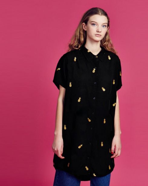 Lazy Oaf Gold Pineapple Shirt