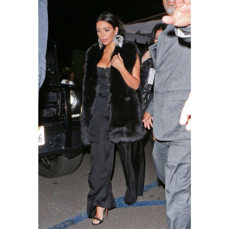 boassy.com - Kim Kardashian at the #SamSmith Concert. wearing a Balmain Spring 2015 Black Zip Front Top and Céline Black Calf Velvet Mulese Sandals   #fashion #kim #kimkardashian #kimye #style #instadaily #instamood #instagood #instacool #instastyle #instafashion #celebritystyle #balmain #celine #love #cute #realstyle #blog #blogger