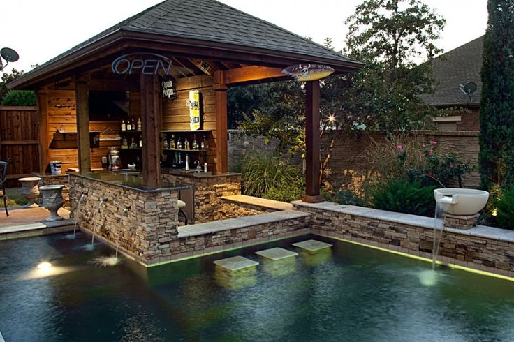 How to Design the Perfect Outside Kitchen designs That Makes You Wonder : Outside Kitchen Designs And Stacked Stone In Rustic Pool Design Ideas With And Natural Swimming Pool And Pictures Of Backyard Waterfalls Also Swim Up Bar