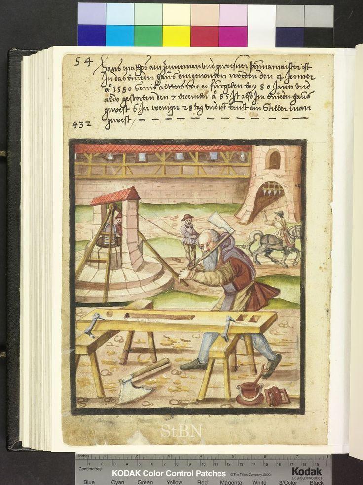 1580s carpenter with well  Die Hausbücher der Nürnberger Zwölfbrüderstiftung…