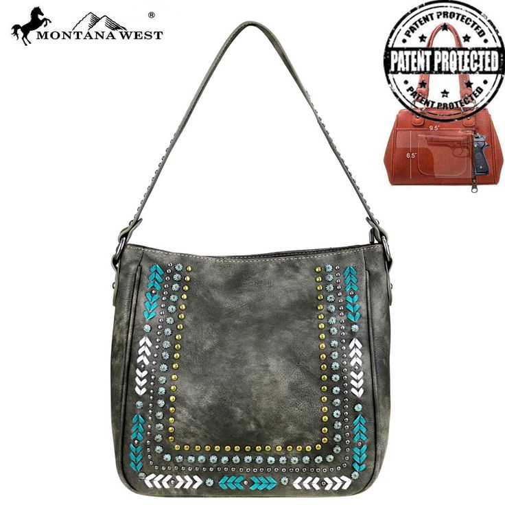 MW398G-8391 Montana West Studs Collection Concealed Carry Tote