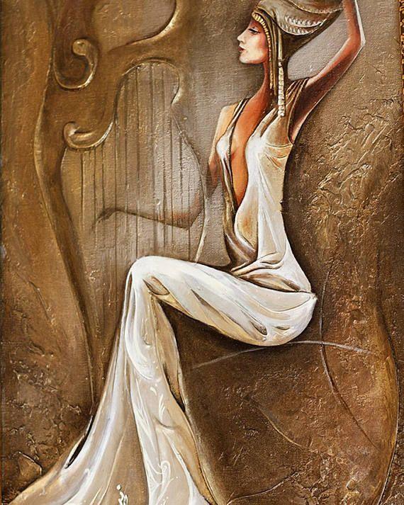 Harpist Mur Toile Art Joueur De Harpe Peinture à L Huile