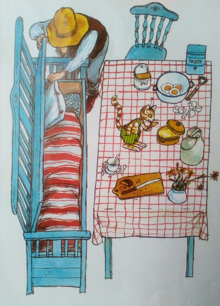 Pettersson und Findus, una torta de cumpleaños para el gato, 1984 - Sven Nordqvist