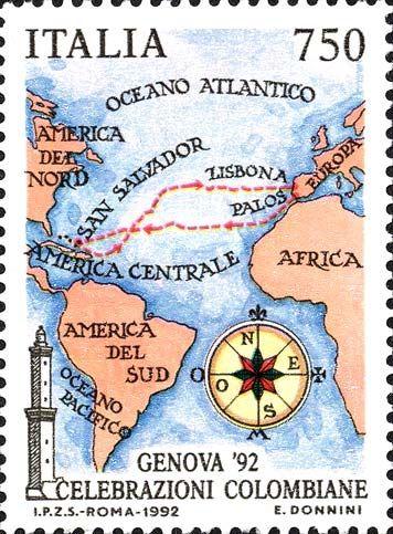 1992 - Celebrazioni Colombiane nel  5° Centenario della scoperta dell'America - carta geografica raffigurante il primo viaggio di Colombo (1492-1493), Palos, Isole Canarie, San Salvador, Lisbona