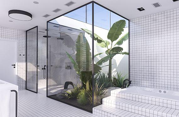 Tropical jungle atrium and recessed bathtub | Urban contemporary bathroom. Design by Eleni Psyllaki @myparadissi