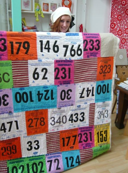 elle's quilt made out of ski bibs! from modern contemporary craft blog
