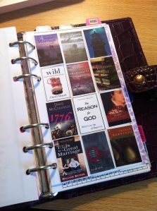 """I LOVE how she keeps track of the books she is reading and wants to read in her Filofax"" - I am SO doing this!"