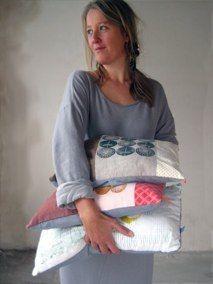 handprinted cushions