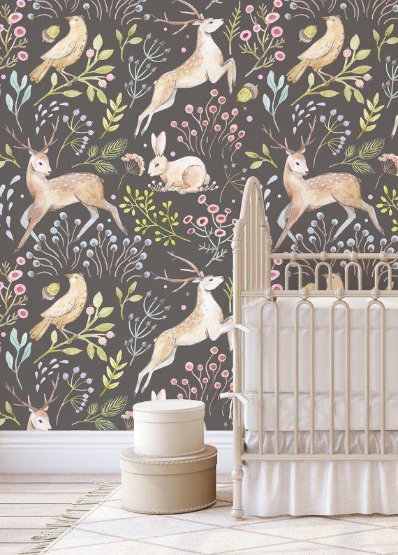 Nursery Wallpaper Into The Wild Wall Decor Mural Kids Playroom Wallpaper Woodland Wallpaper Woodland Wallpaper Nursery Wallpaper Playroom Wallpaper