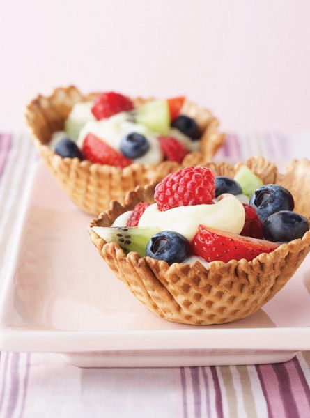 Yogurt & fruit in a waffle bowl! Yum!