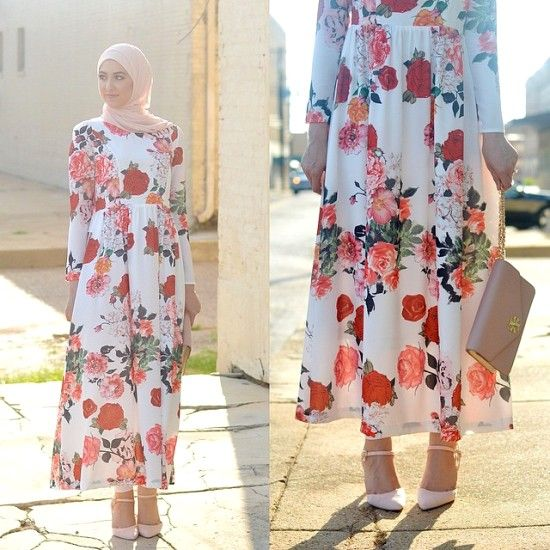 floral maxi sleeved dress, Classy hijab outfits http://www.justtrendygirls.com/classy-hijab-outfits/