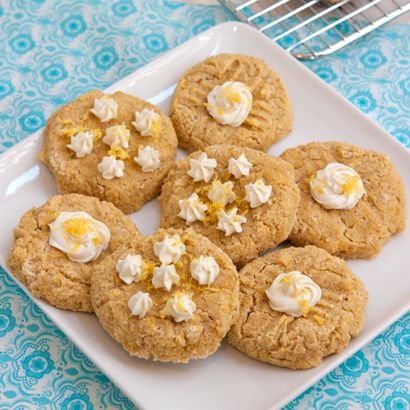 Lemon Ricotta Gluten Free Breakfast Cookies with oat and coconut flour, ricotta cheese, lemons, stevia and cream cheese frosting. Sugar free cookie.
